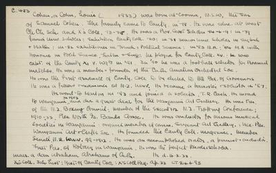 Macdonald Dictionary Record: Louis Cohen or Cohn