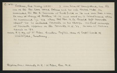 Macdonald Dictionary Record: Henry Collins