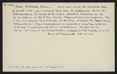 Macdonald Dictionary Record: Archibald George Cook