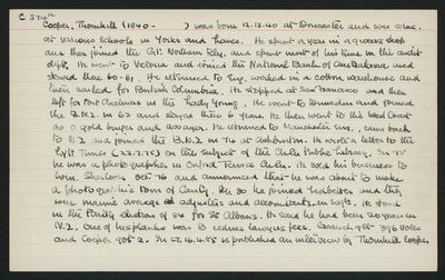 Macdonald Dictionary Record: Thornhill Cooper; 1952-1964;
