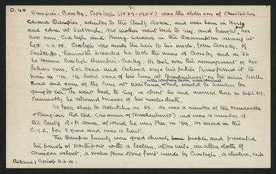 Macdonald Dictionary Record: Croslegh Dampier-Crosley; 1952-1964;