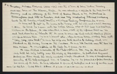 Macdonald Dictionary Record: William Richard Fereday; 1952-1964;