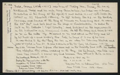 Macdonald Dictionary Record: George Field; 1952-1964;