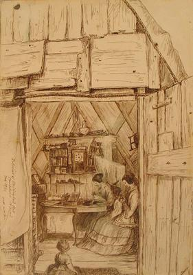 Sketch: Interior of Studding Sail Hall; 28 Feb 1851; 1949.29.6