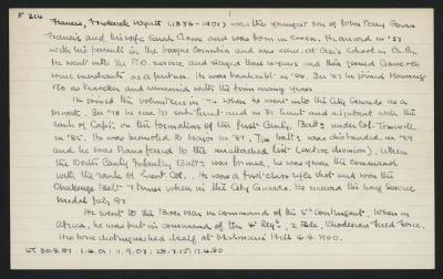 Macdonald Dictionary Record: Frederick Wyatt Francis