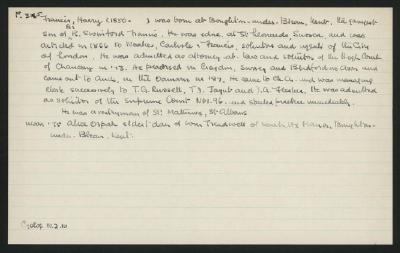 Macdonald Dictionary Record: Harry Francis