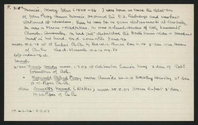 Macdonald Dictionary Record: Henry John Francis