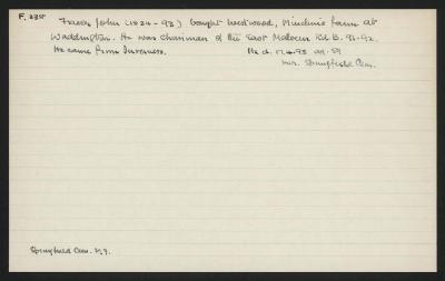Macdonald Dictionary Record: John Fraser
