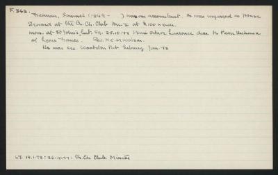 Macdonald Dictionary Record: Samuel Freeman