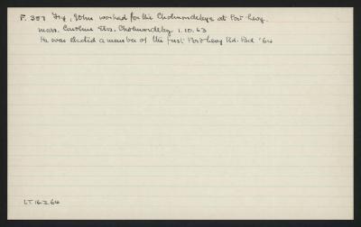 Macdonald Dictionary Record: John Fry