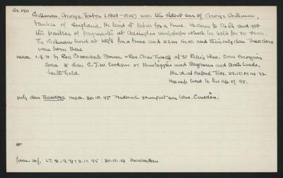 Macdonald Dictionary Record: George Faber Gillman