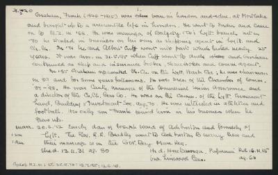 Macdonald Dictionary Record: Frank Graham