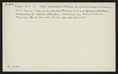 Macdonald Dictionary Record: W P Grant