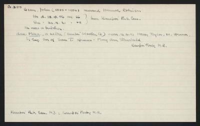 Macdonald Dictionary Record: John Green