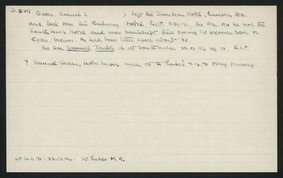 Macdonald Dictionary Record: Samuel Green