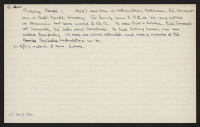 Macdonald Dictionary Record: Joseph Gregory
