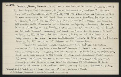 Macdonald Dictionary Record: Henry Barnes Gresson; 1952-1964;