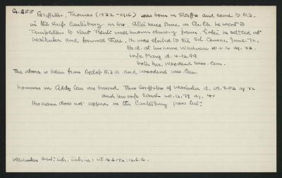 Macdonald Dictionary Record: Thomas Griffiths