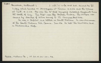 Macdonald Dictionary Record: Nathaniel Grindrod