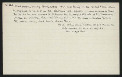 Macdonald Dictionary Record: Henry Bush Grisbrook