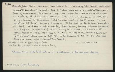 Macdonald Dictionary Record: John (Junior) Grubb