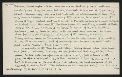 Macdonald Dictionary Record: James Wylie Gillespie