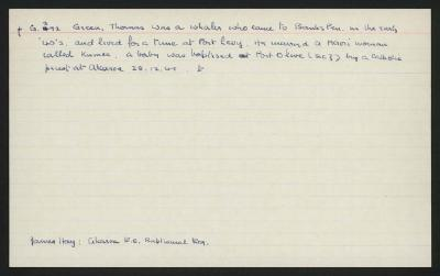 Macdonald Dictionary Record: Thomas Green