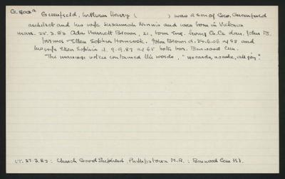Macdonald Dictionary Record: William Henry Greenfield