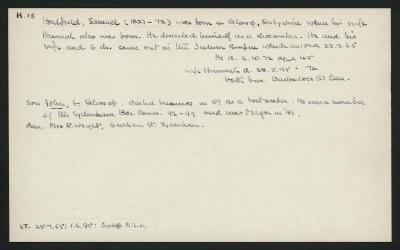 Macdonald Dictionary Record: Samuel Hadfield