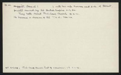 Macdonald Dictionary Record: Daniel Haggitt