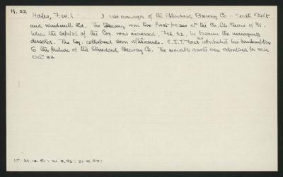 Macdonald Dictionary Record: F W Hales