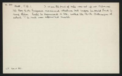 Macdonald Dictionary Record: T B Hall