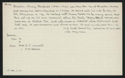 Macdonald Dictionary Record: Henry Benfield Hamlin