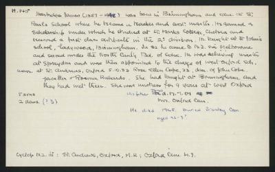 Macdonald Dictionary Record: James Harbridge