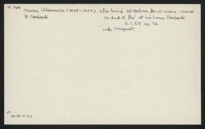 Macdonald Dictionary Record: Alexander Hardie