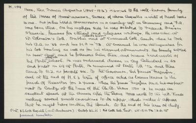 Macdonald Dictionary Record: Francis Augustus Hare