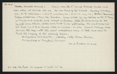 Macdonald Dictionary Record: Gerald Samuel Harper