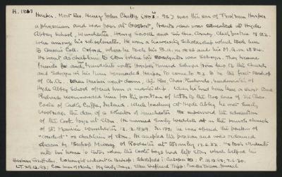 Macdonald Dictionary Record: Henry John Chitty Harper; 1952-1964;