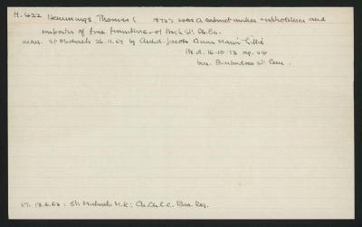 Macdonald Dictionary Record: Thomas Hemmings