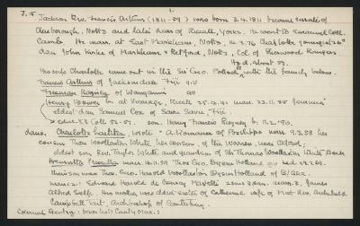 Macdonald Dictionary Record: Francis Arthur Jackson