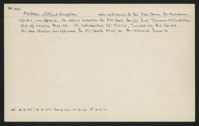 Macdonald Dictionary Record: Alfred Kingston Matson