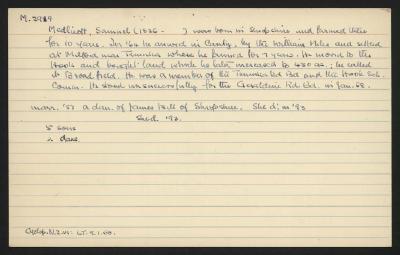 Macdonald Dictionary Record: Samuel Medlicott