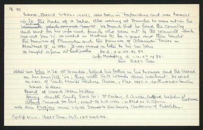 Macdonald Dictionary Record: David Neave