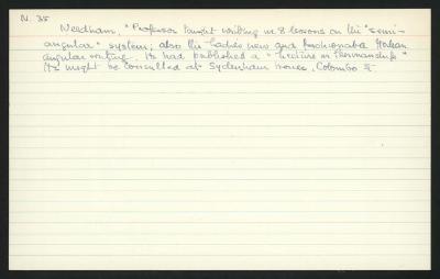 "Macdonald Dictionary Record: ""Professor"" Needham"