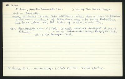 Macdonald Dictionary Record: Horatio Domville Nelson