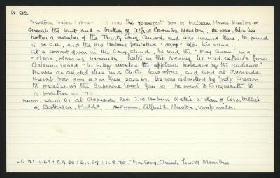 Macdonald Dictionary Record: Heber Newton