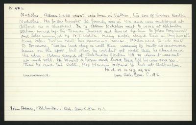 Macdonald Dictionary Record: Adam Nicholas