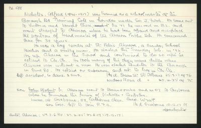 Macdonald Dictionary Record: Alfred Nicholls