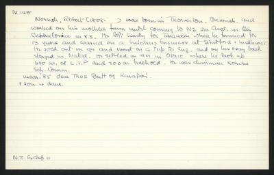 Macdonald Dictionary Record: Robert Norrish