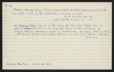 Macdonald Dictionary Record: Henry Parson